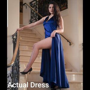 Blue Satin Dress High Slit  sz L Windsor Juliette